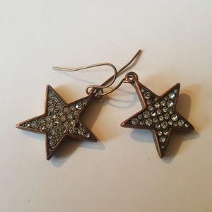 J Crew Brass Star Earrings